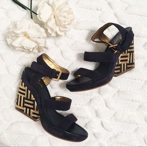 Kate Spade Farryn Navy Gold Suede Geometric Wedges